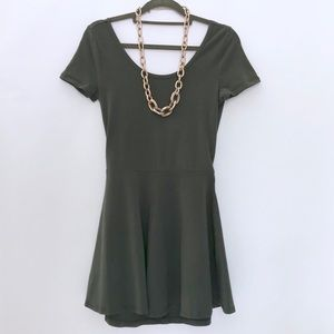2/$30 BP SS Skater Dress Low Back Cut Out in Green
